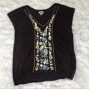 Anthropologie Deletta Embroidered Short Sleeve